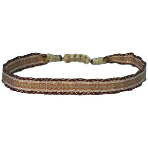 BASIC HANDWOVEN BRACELET IN SAND TONES & ROSE GOLD
