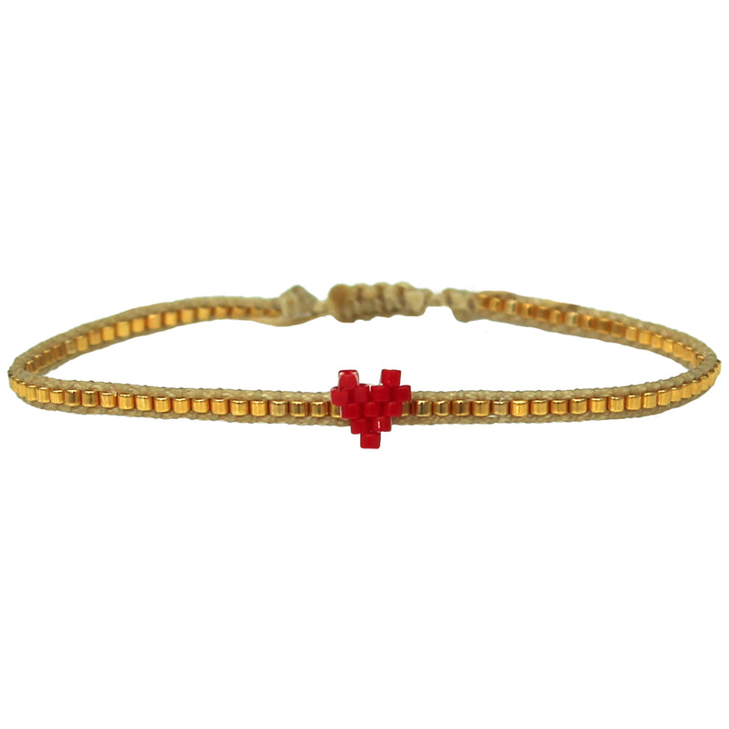HANDWOVEN HEART BRACELET IN RED & GOLD