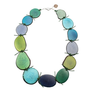 Vegetable Ivory Statement Necklace in Green Tones