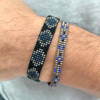 JAPANESE GLASS BEADS BRACELET IN BLUE TONES FOR HIM