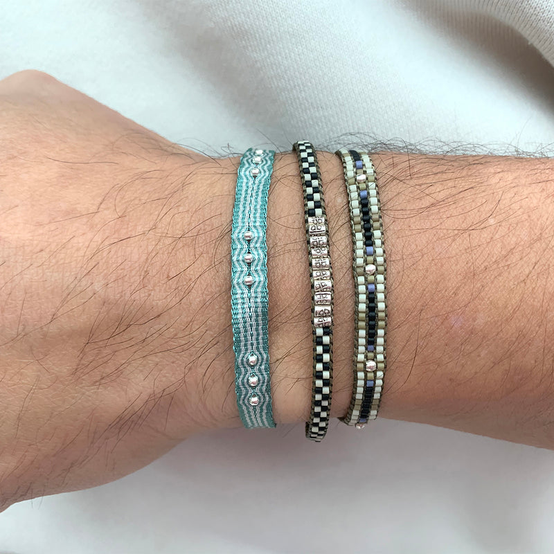 SET OF TWO BRACELETS WITH SILVER DETAILS FOR HIM