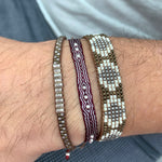 HANDWOVEN BRACELET WITH 9 STERLING SILVER BEADS IN BURGUNDY