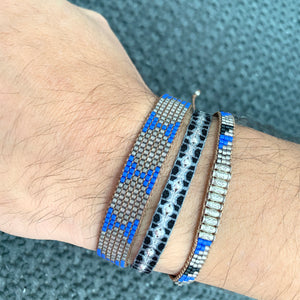 SET OF TWO BEADED BRACELETS IN BLUE TONES FOR HIM