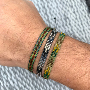 SET OF TWO HANDWOVEN BRACELETS IN GREEN TONES FOR HIM