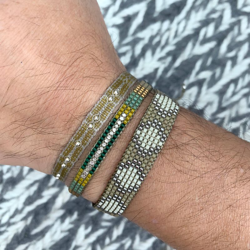 SINGLE WRAP BRACELET WITH STERLING SILVER FACETED BEADS