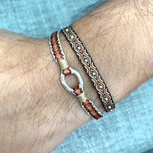 SET OF TWO HANDWOVEN BRACELETS IN BROWN TONES FOR HIM
