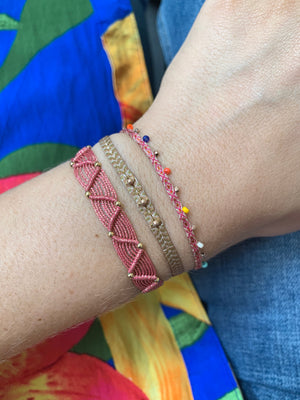 SET OF TWO HANDWOVEN BRACELETS IN PINK TONES