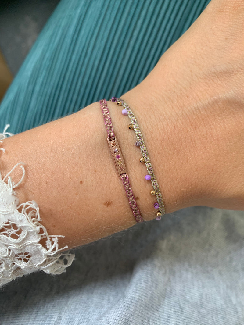 MULTI SAPPHIRE STONES HANDWOVEN BRACELET IN ROSE GOLD & LILAC TONES