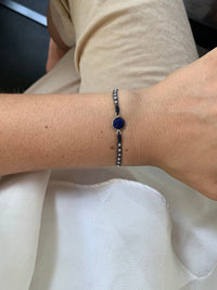 STONE BRACELET IN BLUE TONES WITH SILVER DETAILS