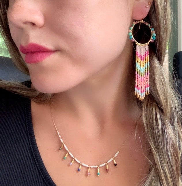WATERFALL EARRINGS IN PINK & TURQUOISE STONES
