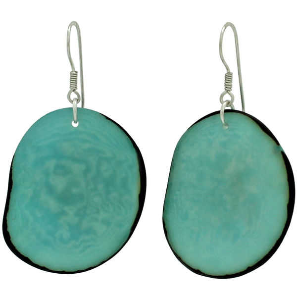 VEGETABLE IVORY EARRINGS IN SKY BLUE