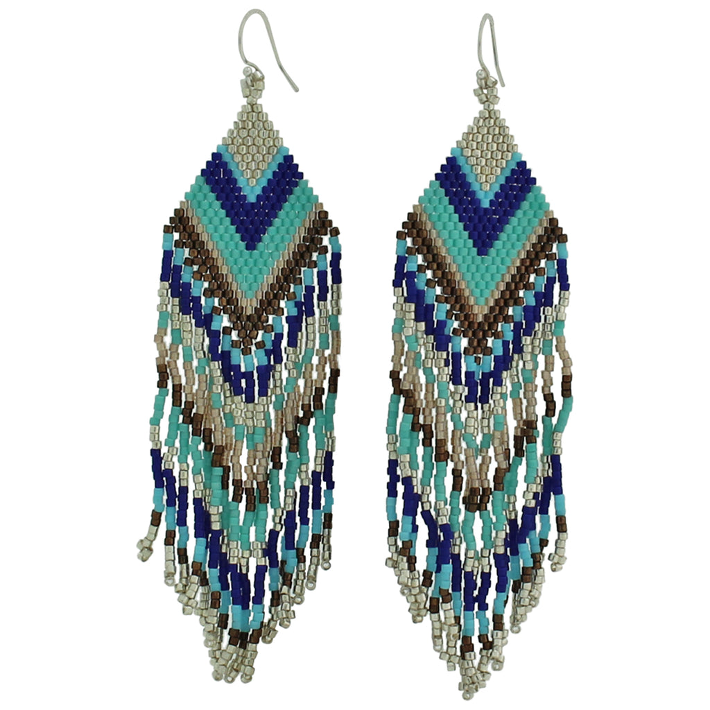 Beaded Chandelier Earrings in Tones of blue