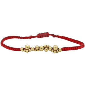 GOLD BUBBLE BRACELET IN RED