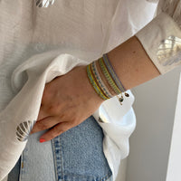 GREY SINGLE WRAP BRACELET WITH 14K GOLD FILLED FACETED BEADS