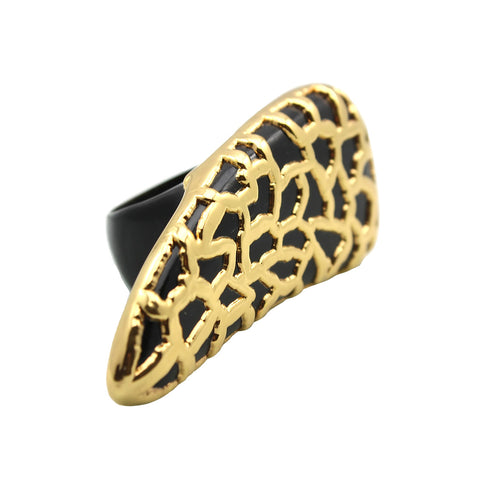 Kleio Horn Black Statement Ring Gold