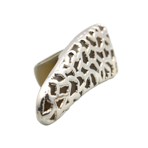 Kleio Horn Black Statement Ring Silver
