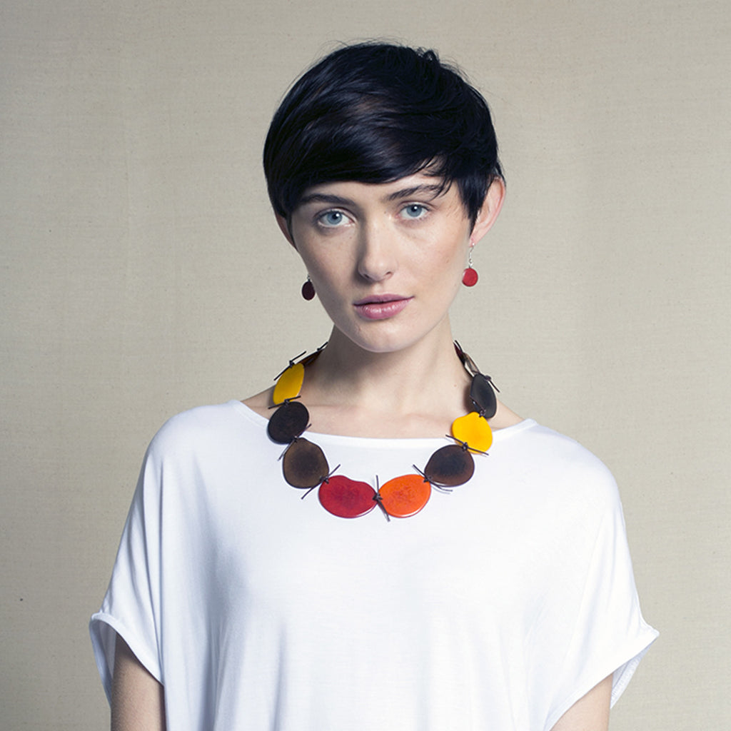 Vegetable Ivory Statement Necklace in Yellow and Orange Tones