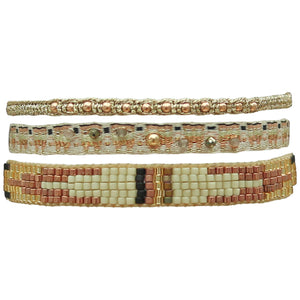 SET OF THREE BRACELETS IN NUDE TONES