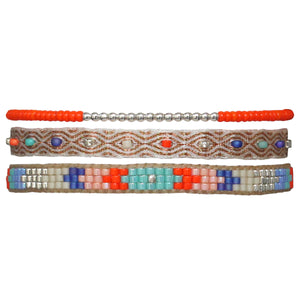 SET OF THREE BRACELETS WITH ORANGE AND BLUE TONES