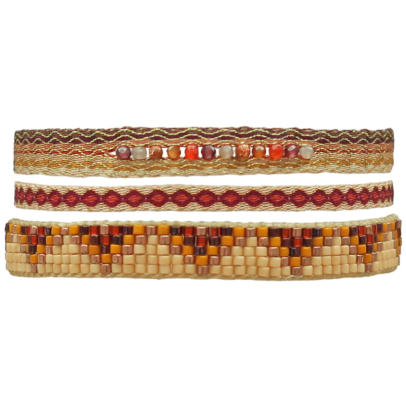 SET OF THREE BRACELETS IN TERRACOTTA TONES