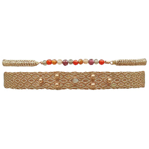SET OF TWO BRACELETS IN ROSE GOLD & SEMI-PRECIOUS STONES