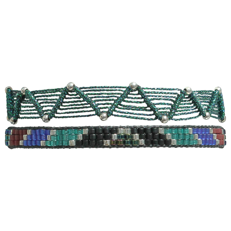 SET OF TWO BRACELETS IN DARK GREEN AND BLUE TONES