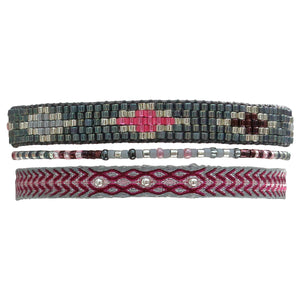SET OF THREE PINK AND GREY BRACELETS WITH SILVER DETAILS