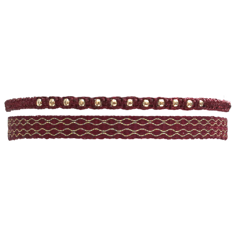 SET OF TWO HANDWOVEN BURGUNDY AND GOLD BRACELETS