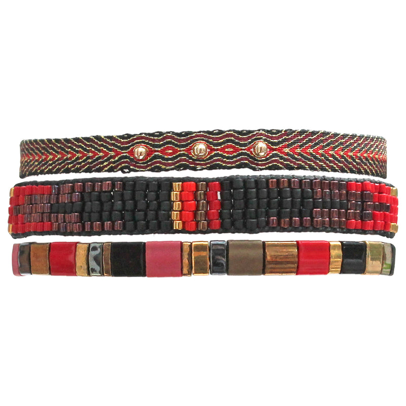 SET OF THREE BRACELETS IN BLACK GOLD AND RED TONES