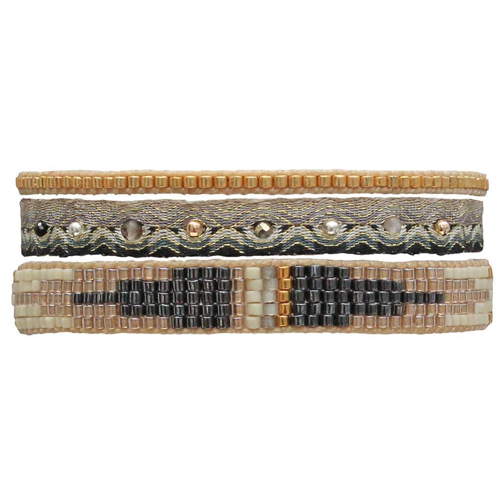 SET OF THREE HANDWOVEN BRACELETS IN GOLD TONES