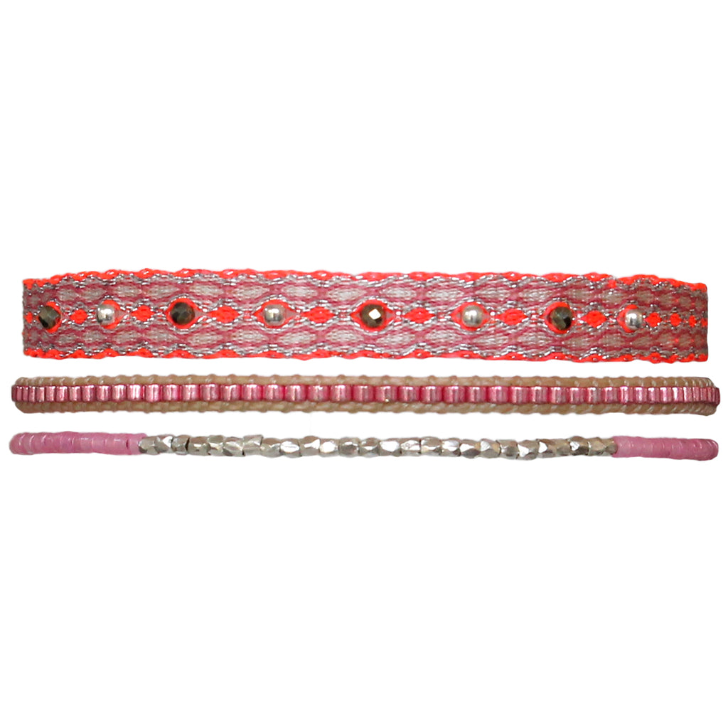 SET OF THREE BRACELETS IN PINK & SILVER TONES
