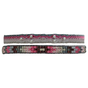 SET OF TWO HANDWOVEN BRACELETS IN PINK AND SILVER TONES