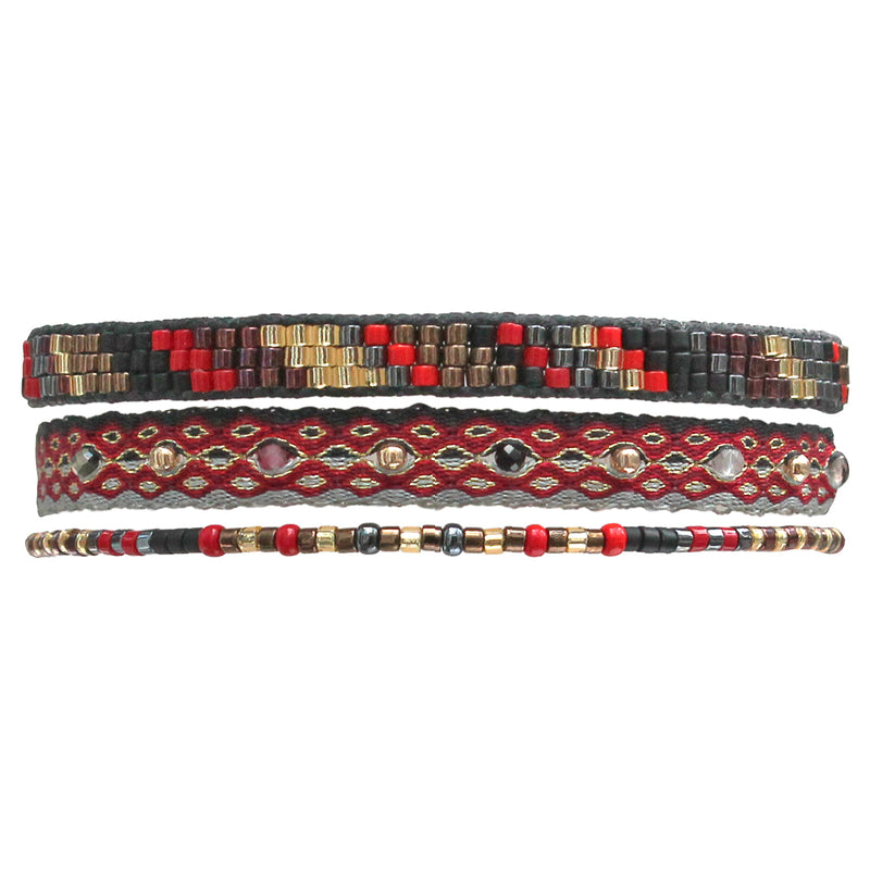 HANDWOVEN SET OF THREE BRACELETS IN RED AND BLACK TONES
