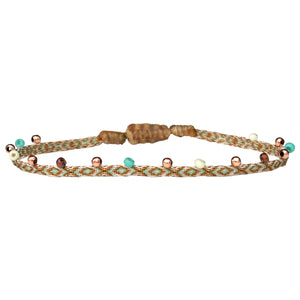 COLORS HANDWOVEN BRACELET IN TURQUOISE, BEIGE AND ROSE GOLD TONES
