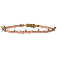 COLORS HANDWOVEN BRACELET IN BEIGE & ROSE GOLD TONES