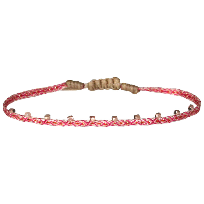 STONE BRACELET IN PINK AND ROSE GOLD TONES