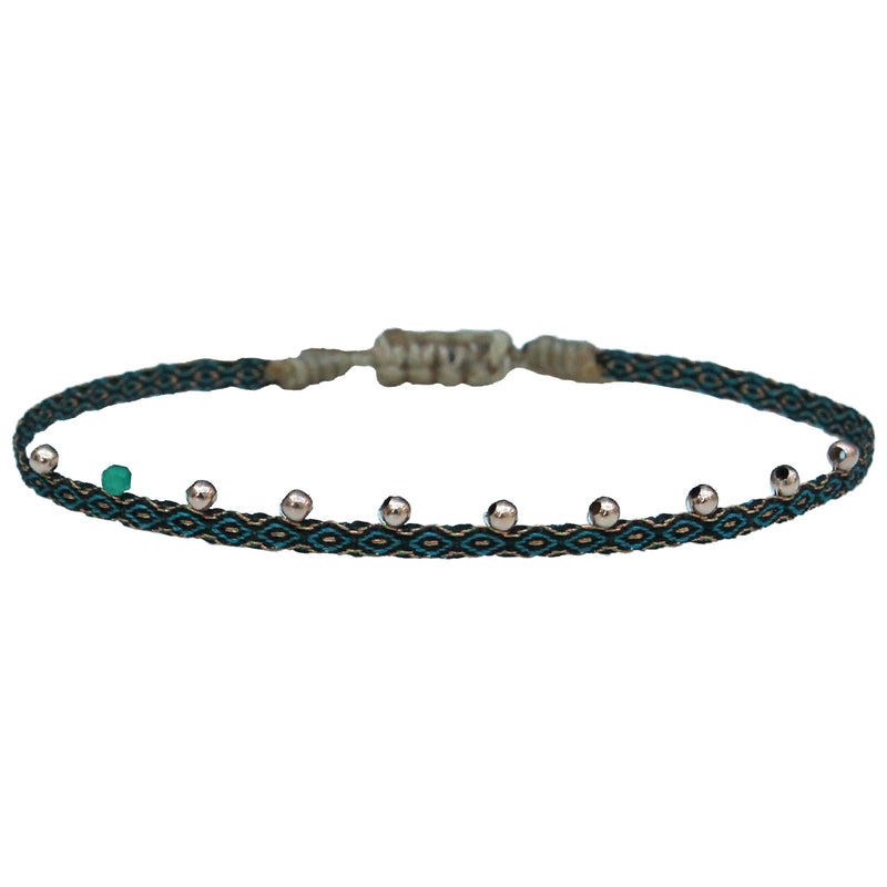 STONE BRACELET IN AQUA AND BLACK TONES