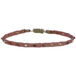 COLOURFUL HANDWOVEN BRACELET IN PINK TONES AND SILVER DETAILS