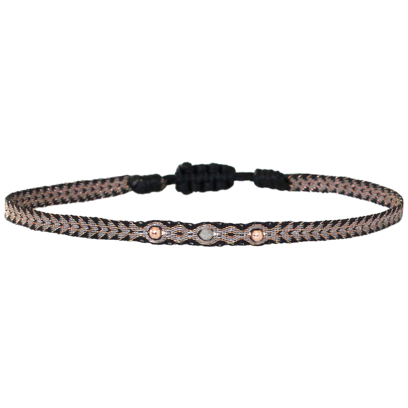 GREY DIAMOND BRACELET IN BLACK AND GOLD TONES