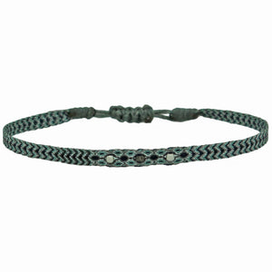 BLACK DIAMOND WRAP BRACELET WITH STERLING SILVER DETAIL