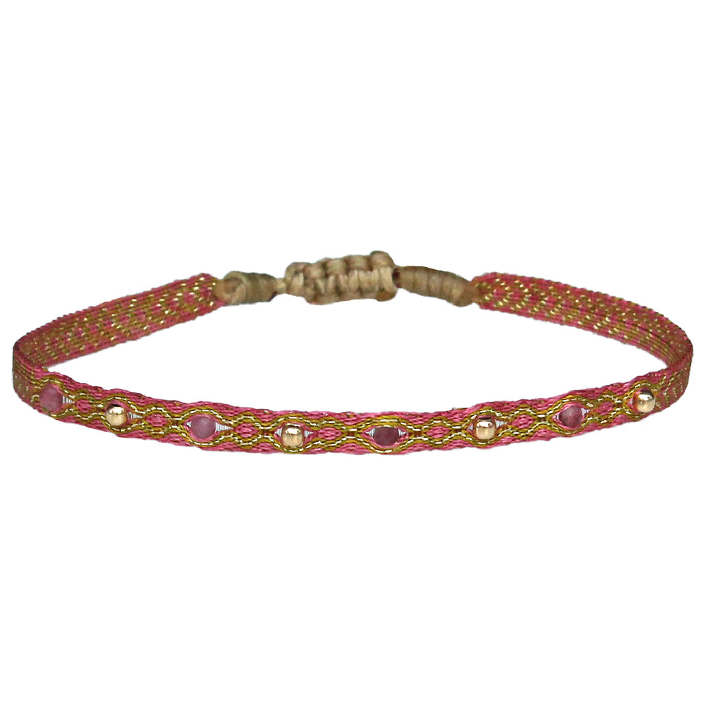 INTERMIXED STONES HANDWOVEN BRACELET IN PINK & GOLD TONES