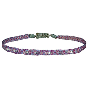 INTERMIXED STONES HANDWOVEN BRACELET IN LILAC & SILVER TONES