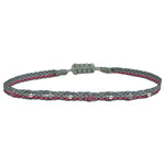 HANDWOVEN BRACELET IN SILVER AND PINK TONES