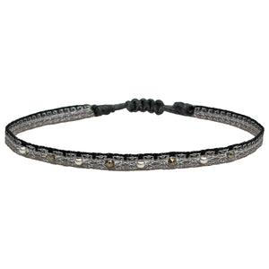 HANDWOVEN BRACELET WITH STERLING SILVER AND PYRITE STONES
