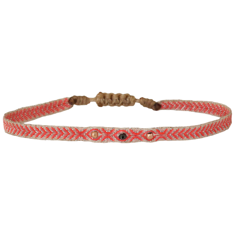 BLACK DIAMOND BRACELET IN BRIGHT PINK, BEIGE & SILVER TONES