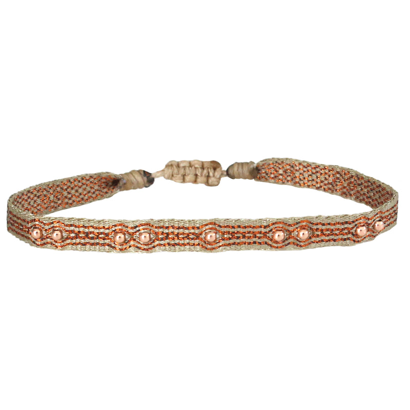 HANDWOVEN BRACELET IN COPPER TONES AND GOLD DETAILS FOR HIM