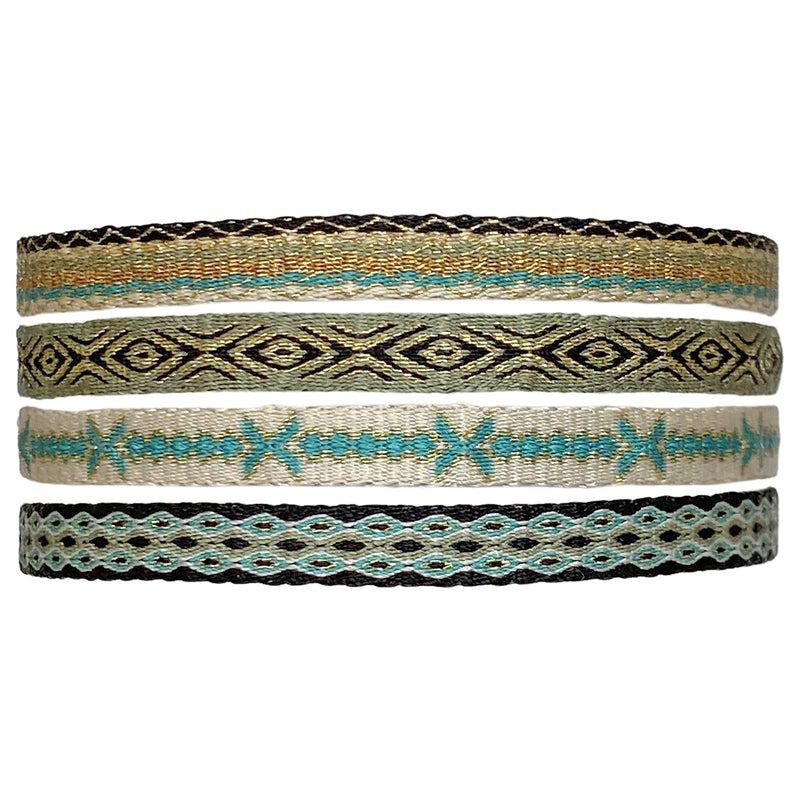 SET OF FOUR BASIC HANDWOVEN BRACELETS IN PASTEL TONES