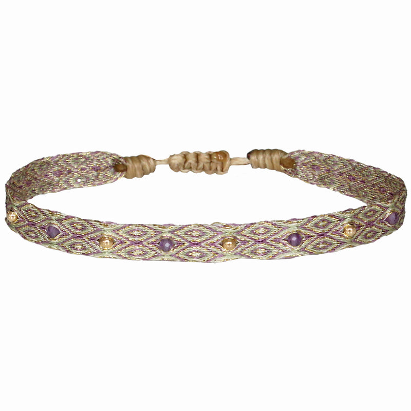 GOLD AND AMETHYST  MIX HANDWOVEN BRACELET
