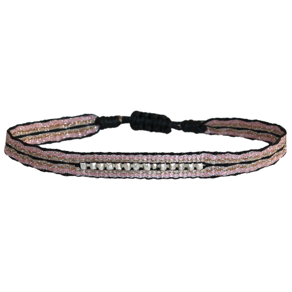 BLACK & SOFT PINK BRACELET WITH STERLING SILVER FACETED BEADS DETAILS