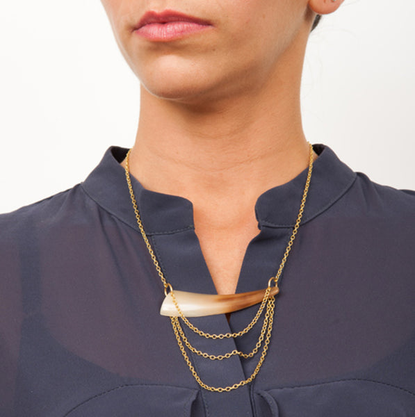 Horn and Gold Pendant Necklace